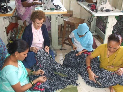Sister Isabel working with women at a Creative Handicrafts cooperative