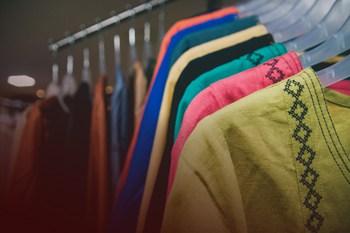 Garments hanging in a Creative Handicrafts shop