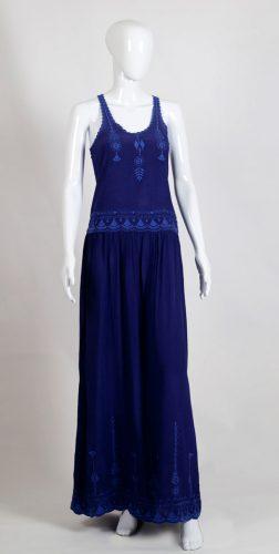 Creative Handicrafts Longue Dingo blue viscose crepe dress